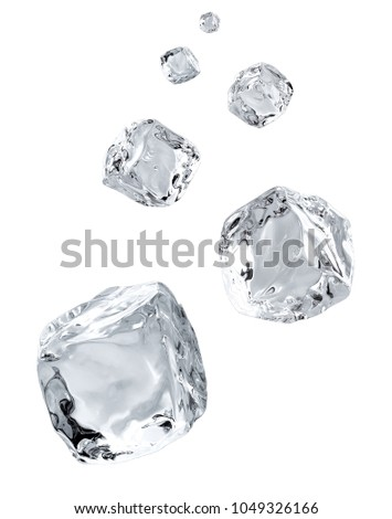 Falling ice cubes in space isolated on white background #1049326166