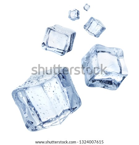 Falling ice cubes, isolated on white background