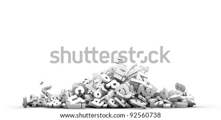 falling letters isolated on white background - stock photo