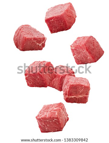 Falling meat, beef, cube, isolated on white background, clipping path, full depth of field