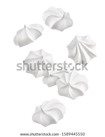 Falling meringue, zephyr, marshmallow, isolated on white background, clipping path, full depth of field ストックフォト ©