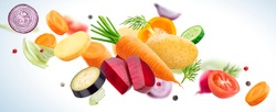 Falling mix of different vegetables, potatoes, cabbage, carrots, beets and onion with herbs and spices isolated on white background