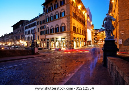 Falling night in Florence, Italy
