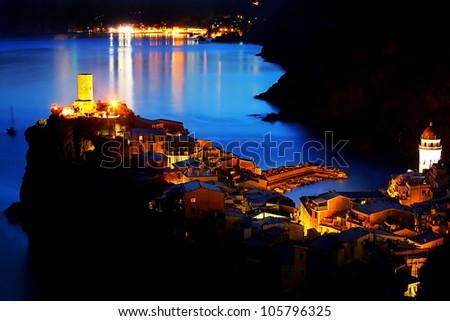 Falling night in Vernazza Village, Cinque Terre, Italy