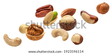 Falling nuts collection, cashew, hazelnut, almond, brazil nut, walnut, peanut, pistachios, macadamia and pecan isolated on white background with clipping path Сток-фото ©