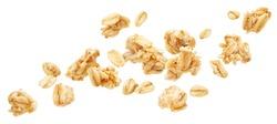 Falling oat granola, crunchy muesli isolated on white background