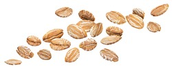 Falling oat rye flakes isolated on white background with clipping path, oatmeal close up