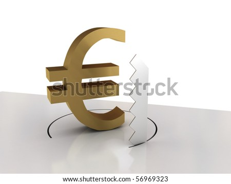 Falling of euro isolated on white background. High quality 3d render.