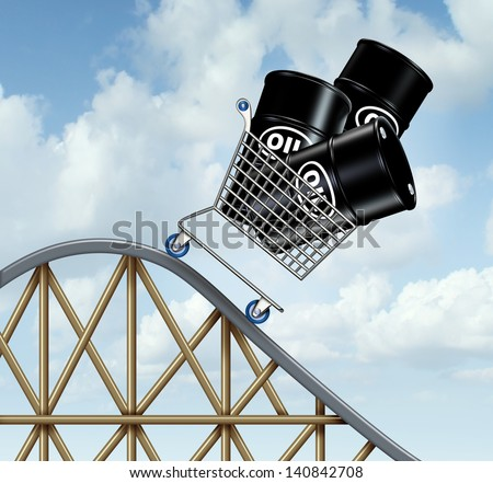 Falling oil prices and plunging fuel costs as a group of oil barrels or steel drum containers in a shopping cart going down on a roller coaster as a business concept of low and unstable energy price.