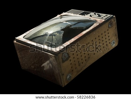 Falling old TV on a black background. - stock photo