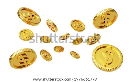 Falling or flying coins, Golden dollar coins rain, 3D gold coins explosion, win the game, floating gold coins, 3d Illustration.