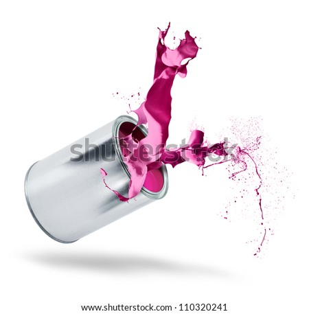 Falling paint can bursts pink red color splash