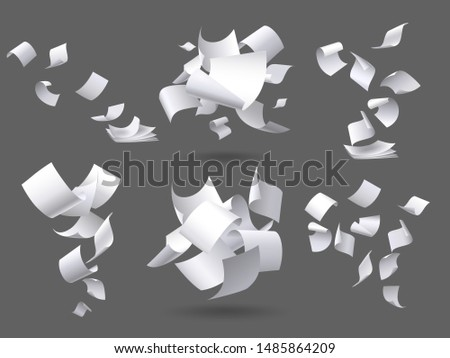 Falling paper sheets. Flying papers pages, white sheet documents and blank document page on wind. Fly scattered notes, empty chaotic paperwork. Isolated illustration signs set