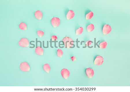 Falling petals of a pink rose on green background.