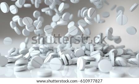 falling pills, tablets. Medical concept. 3d rendering.