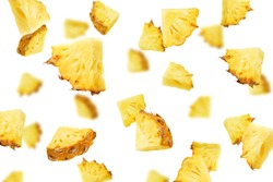 Falling pineapple slice isolated on white background, selective focus