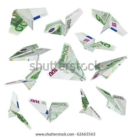 Falling plane hundred euro isolated on white.