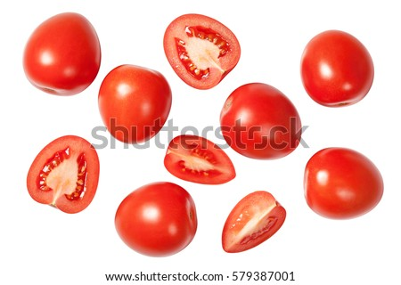 Falling plum tomatoes isolated on white background. Top view