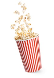 Falling popcorn in box isolated on a white background. With clipping path.