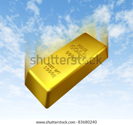 Falling price of gold represented by a golden yellow metal bar going down with a blue sky background showing the concept of losing value in trading precious bullion.