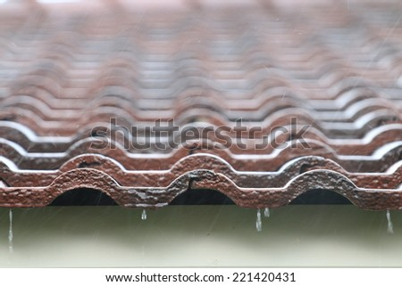 Falling Rain drop on brown brick roof, close up.