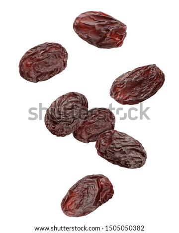 Falling raisin isolated on white background, clipping path, full depth of field Stock photo ©