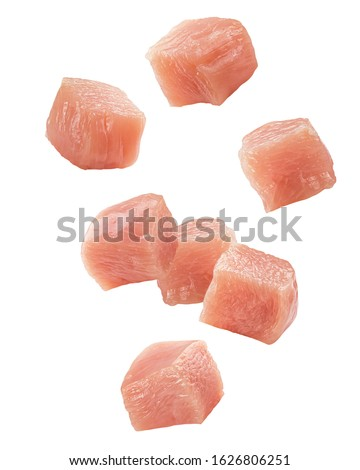Falling Raw chicken, fillet, isolated on white background, clipping path, full depth of field