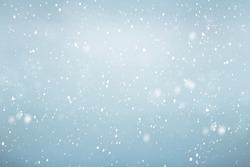 Falling snow background, winter sky