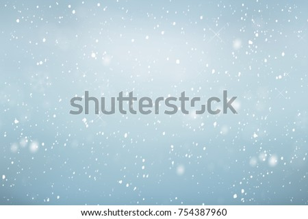 Falling snow background, winter sky