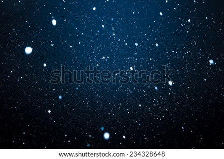 Falling Snow On The Blue Background #234328648