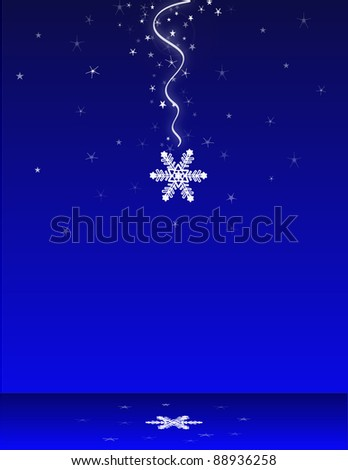 Falling snowflake with reflection