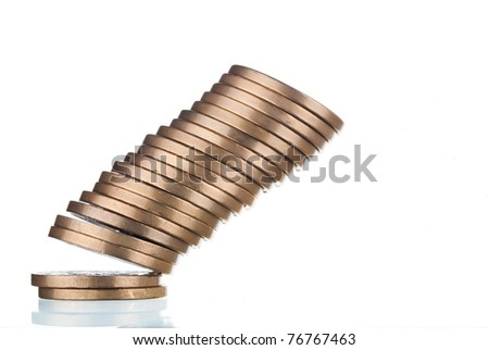 Falling stack of golden coins