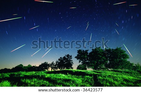 Falling stars at night