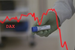 falling stock market prices, SIGNIFICANT PRICE LOSS EXPECTED -  economic consequences of a coronavirus pandemic, in hand tube with text corona test, blurred background, performance index dax