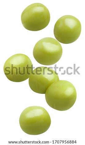 Falling tasty green peas, isolated on white background Foto stock ©