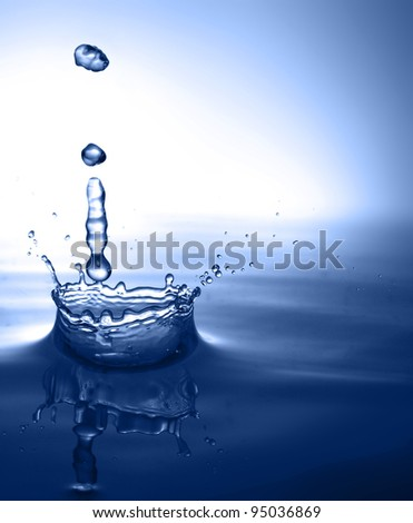 Falling water drop - stock photo