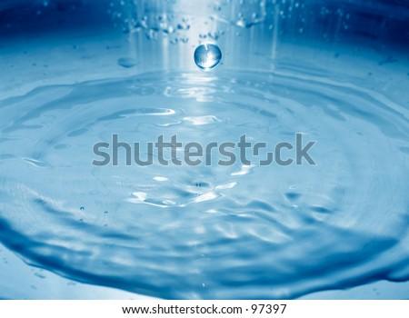 Falling water drop + blue filter