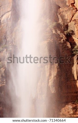 Falling Water Weeping Rock Waterfall Red Rock Wall Zion