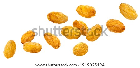 Falling yellow raisins isolated on white background with clipping path Stock photo ©