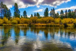 Falls colors along the Williamson River in rural Klamath County, Oregon