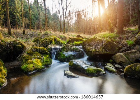 Falls on the small mountain river in a wood in spring with light leak and sun flare