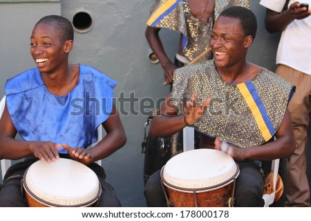 FALMOUTH, JAMAICA � MAY 11: An unidentified street performers playing outside the port of Falmouth on MAY 11, 2011 in Jamaica ahead of the national labor day celebrations.