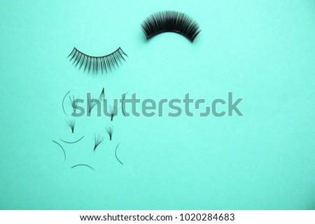False eyelashes on color background