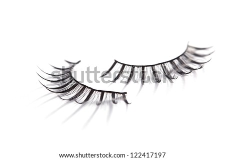 False eyelashes on white background