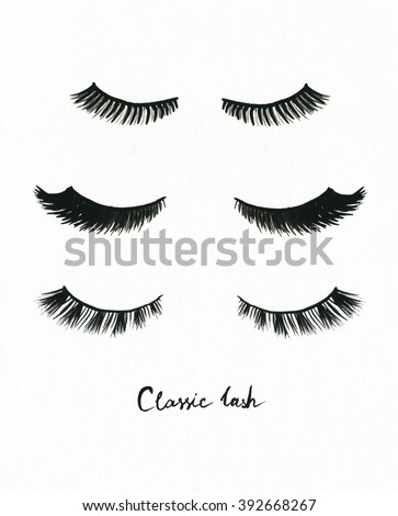false eyelashes. watercolor fashion illustration