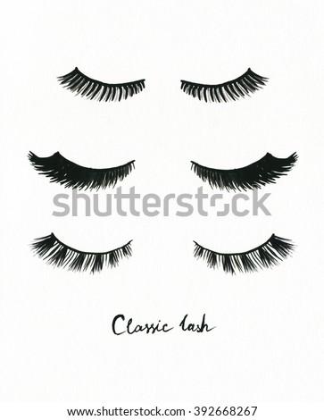 false eyelashes. watercolor fashion illustration