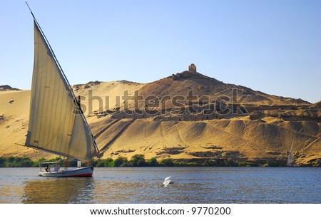 Faluka on the Nile river in Egypt
