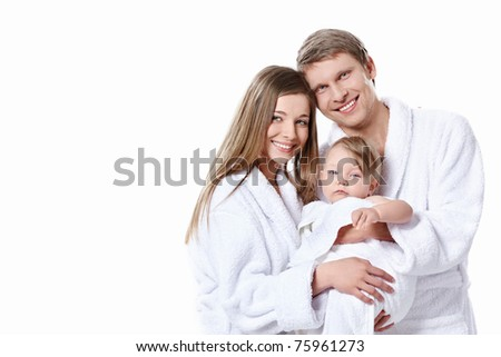Families with babies in the gowns on white background
