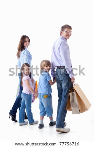 Families with children and bags on a white background