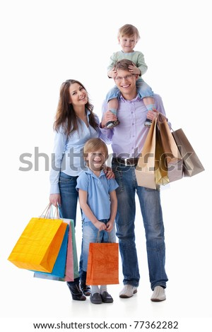 Families with children with shopping on white background